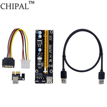 CHIPAL Black 60cm PCI Express 1X To 16X PCI-E Riser Card USB 3.0 To 4Pin IDE Extension Cable Molex Power Supply For BTC Miner
