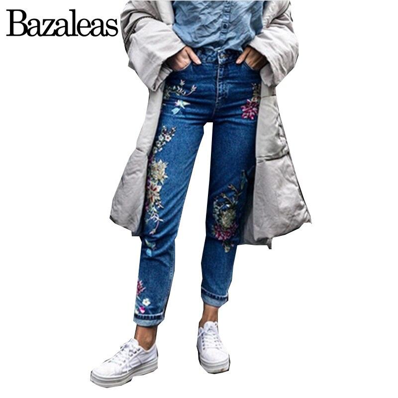 Bazaleas Spring autum Pockets Straight Denim Jeans Women Bottom Flower Birds Embroidery Jean Female Blue Casual PantsОдежда и ак�е��уары<br><br><br>Aliexpress