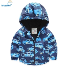 Baby Boy's Coat Autumn 2017 Wind Proof Thicken Cartoon Car Children Outwear Toddler Boys Coats Hooded Jacket Boys Clothes T674