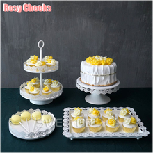 White cake stand set 4 pieces cupcake display tray for wedding cake tools candy plate party event home decoration bake ware