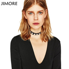 [JIMORE] 2017 Hot Simulated-pearl Necklace Black Pink Colors Accessories for Women Collares Etnicos Leather Choker Punk Torques