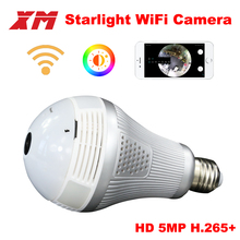 XM 5MP Wireless Panoramic 360 VR Wifi IP Camera Smart LED Lights Cam Starlight night vision Bulb Home Security Camera XM ICsee(China)