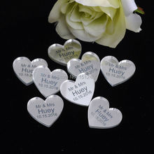 100 pieces Personalized Mirror/clear MR & MRS Surname Love Heart Wedding Table Decor Favors Customized 25MM*24MM(China)