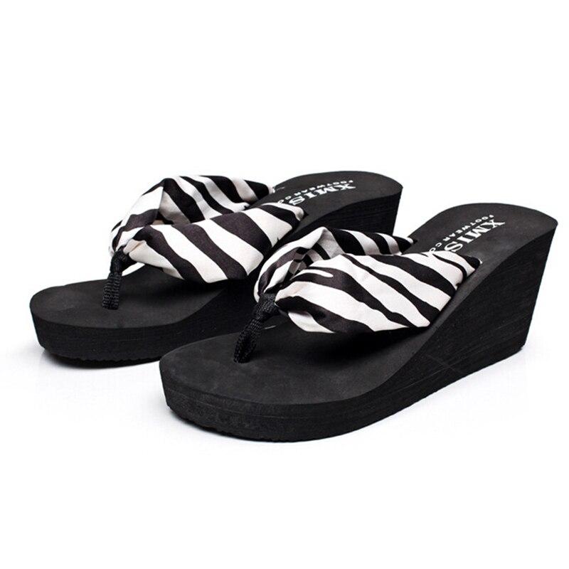 2016 bohemian women shoes beach slippers high-heeled satin sandals flip flops zapatos mujer s230<br><br>Aliexpress