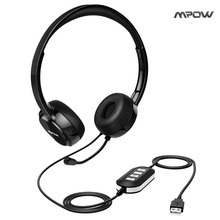 Mpow AUX Headset with Noise Reduction Sound Card, In-line Control, Protein Memory Earmuffs for Skype Calls with microphone