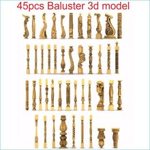 45pcs/set baluster 3d model STL relief for cnc STL format staircase column 3d model for cnc stl relief artcam vectric aspire(China)
