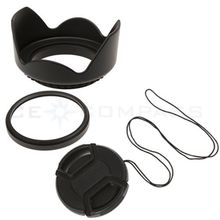 49 52 55 58 62 67 72 77 82 mm UV Filter+ Lens Hood +Snap on Lens Cap for canon nikon pentax sony camera dslr