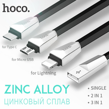 HOCO Zinc Alloy 3 in 1 Data Charging Cable for Apple iPhone Lightning 2 in 1 OTG Charger Micro USB Type C for Samsung Xiaomi