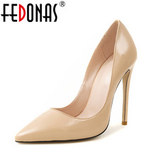 Buy FEDONAS Brand Shoes Woman High Heels Pumps Nude 11.5CM High Heels Wedding Party Shoes Pumps Black Genuine Leather Shoes Heels for $41.86 in AliExpress store