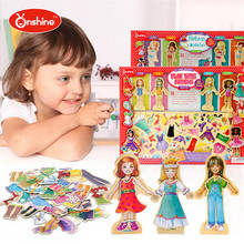 Boy's Girl's Toy Doll 63PCS A Set Cute Girl Magnetic Dress Clothes Educational Toys Play Change Game Funny Gift P4(China)