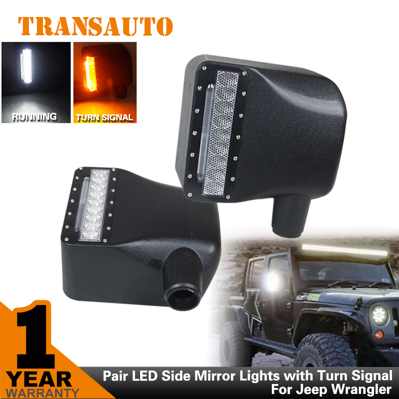 TRANSAUTO Pair 27w Car Light Pair LED Side Mirror Lights with Turn Signal for Jeep Wrangler  JK<br><br>Aliexpress