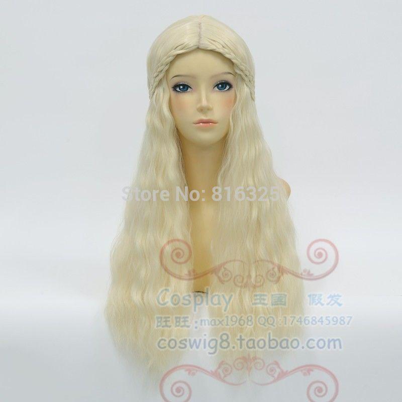 shun DM690027&gt;&gt;&gt;&gt;&gt;&gt;New Fashion Wig A of Ice and Fire+Daenerys Targaryen Cosplay Wig Curly Hai long<br><br>Aliexpress