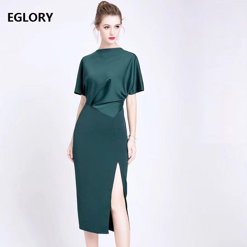 New Brand 2019 Spring Summer Party Office Dress Women Batwing Sleeve Split Sexy Bodycon Midi Party Night Club Dress Vestidos