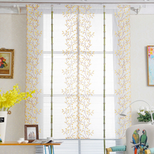 Salix Leaf Rural Roman Curtain Bedroom Balcony Embroidery Lift Sector Curtain for Living Room Study Room Dressing Table Decor