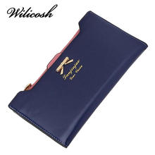 Wilicosh 2017 Fashion PU Women Wallet Multifunctional Long Wallet Vintage Ladies Clutch Thin Cheap Coin Purse Card Holder HB005(China)
