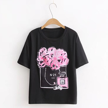 2017 New Women's T-shirt Perfume Bottle Printing Summer Short Sleeved Tshirt Loose Fashion Street Wear Black White Tee Tops