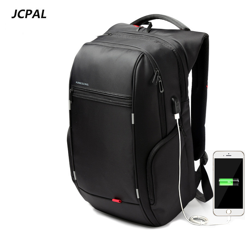The New 1517 Laptop Backpack External USB Charge Computer Backpacks Anti-theft Waterproof Bags for Men Backpack Bobby<br>