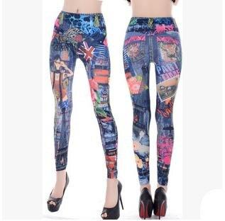 Vintage Women Jeans Fashion Printed Slim Elastic Waist Skinny Pants America Apparel Ladies Sexy Tattoo Leggings TrousersОдежда и ак�е��уары<br><br><br>Aliexpress