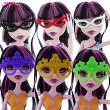6 Pcs/lot Mini Plastic Glasses Mixed Style Party Daily Dress Up Accessories For Barbie Monster High 1/6 Doll Pretend Play Gift