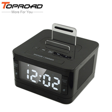 TOPROAD Wireless Bluetooth Speaker FM Radio Alarm Clock Audio Music Speakers with Charger Dock Station for iPhone 7 SE 5S 6 6s
