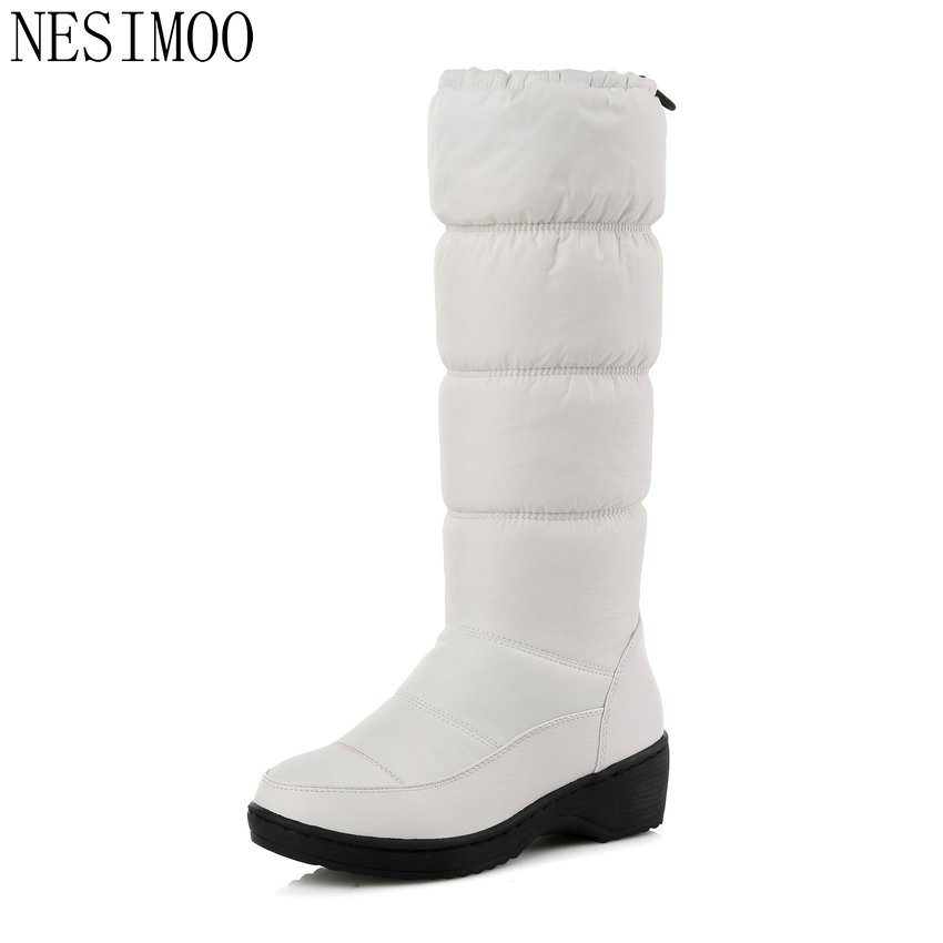 NESIMOO 2018 Warm Elegant Solid Slip on 2016 PU+Down Women Shoes Wedge Low Heel Mid Calf Snow Boots Women Snow Boots Size 34-43<br>