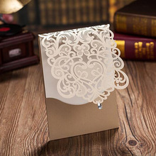 10pcs Vertical Gold Elegant Engagement card / Wedding Invitation Custom With Rhinestone & Laser Cut Flower Party Supplies