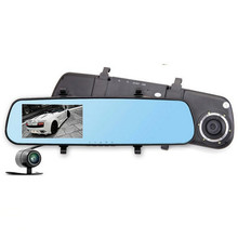 4.3 inch dual lens car dvr full hd 1080p car rearview mirror dvr monitor parking car camera dash cam night vision video recorder
