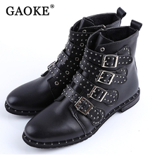 2017 Fashion Women Studded Ankle Boots Winter PU Leather High Top Flat Brand Casual Shoes Martin Boots Ladies Black Boots(China)