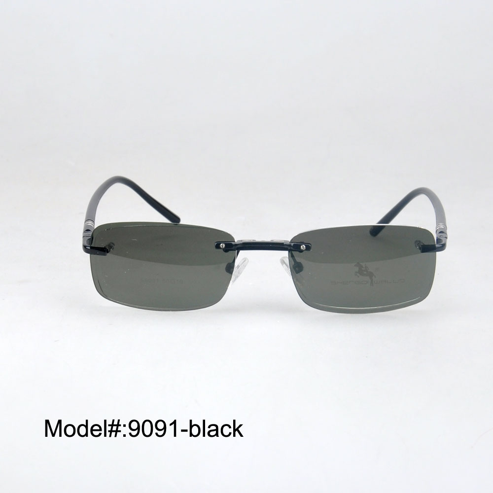 9091  New arrival rimless sunglasses polarized fashion sunglasses clip on with spring hinge   sunshade<br><br>Aliexpress