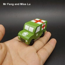 Mini Wooden Ambulance Cars Medical Vehicle Truck Toy Kid(China)
