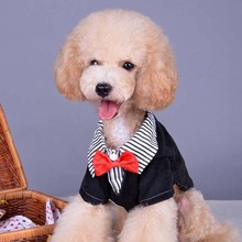 Clothing Pet Dogs Puppy Pet Dog Clothes Cotton Western Style Male Suit & Bow Tie(China)