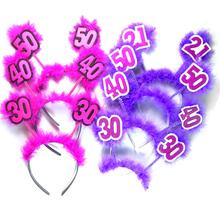 1pc Pink Birthday headband 50% off for 3pcs purple feather hair accessories fun adult birthday party 21 30 40 50 woman favors(China)