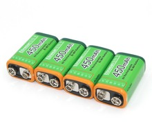 4pcs/lot ETINESAN 9V 9 Volt 450mAh NiMH Rechargeable Ni-MH Battery Batteries for alarms,gps system