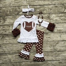 girls football outfit clothing sets girls heart football clothes girls white with brown polka dot pant outfits with accessories(China)
