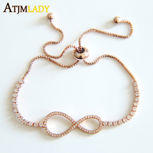 2017 Charm Bracelets Rushed Rose Color Adjust Size Tone Women For Bracelet With Cubic Zircconia Wedding Engagement Jewelry