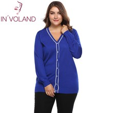 IN'VOLAND Plus Size L-4XL Women Sweater Cardigan Autumn Casual Long Sleeve Button Patchwork Knitwear Large Coat Top Big Size(China)