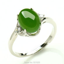 925 Silver Natural Green HeTian Jade Gem Inlay Lucky Ring adjustable + Certificate Fine Jade Rings Fashion Woman Jewelry
