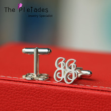 925 Sterling Silver Cuff Links with Monogrammed Letters Personalized 2 Initial Monogram Cufflink Men Jewelry Father's Gift