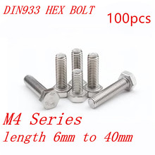 100pcs DIN933 M4 4mm 304 stainless steel hex bolt M4*6/8/10/12/1/16/18/20/25/30/35/40mm(China)
