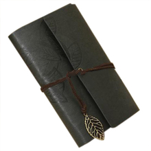 PU Leather Diary book Notebook Leaf Pendant Vintage Notebook 19x13.5cm, Black
