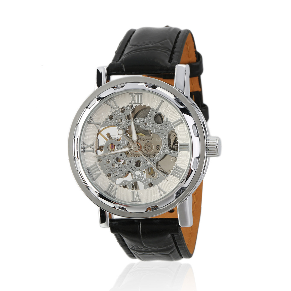 2016 Fashion Casual Men Women Watch Skeleton Hollow Men Mechanical Wristwatches Black Leather Band<br><br>Aliexpress