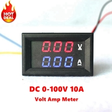 "Mini Digital Voltmeter Ammeter DC 100V 10A Panel Amp Volt Current Meter Tester 0.28"" 3 Digits Blue Red Dual LED Display(China)"