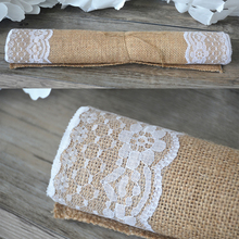 30*180  Table Runner Burlap Natural Jute Imitated Linen Rustic Decor Wedding Hessian  Lace Side Khaki Gray Tablecloth Party