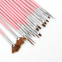 2017 15Pcs/Set Pink And White Nail Art Brush Drawing Paint Brush Set Nail Brush Set Tools Nail Art Drill Point Pen Gel Brush(China)