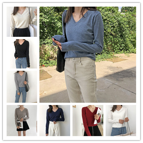 1PC Women V-Neck Knitting Sweater Autumn Winter Sexy Elegant Pullover Multi Colors Ladies Bottoming Tops New