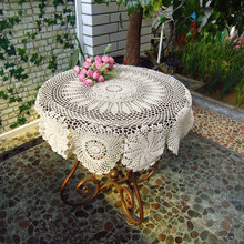 Vintage handmade white crochet  tablecloth round  table topper  coffee tea table cloth cover/toalha de mesa