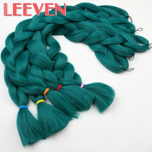 Leeven 42'' Jumbo Braiding Hair pure color Straight DIY Crochet Braid synthetic Bulk False Hair Extensions High TemperatureFiber
