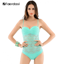 2017 Hot Solid Push-up Swimwear Mesh Covered-up Adjuster Straps Swimsuit One Piece Sexy and Lovely Women Bathing Suit FD81605(China)