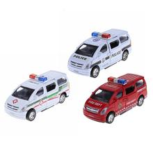 1:28 Alloy Simulation Car Model Electronic Cartoon Pull Back Car with Light Music Kid Gift Ambulance Fire Truck Patrol Cars Toys(China)