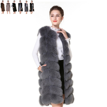 Real Fur Vest Light Gray Fur Vest Women Winter Vest 90CM Waistcoat Real Fox Fur Gilet Female Real Fur Vest Long Waistcoat(China)